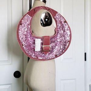 Hobo style sequined shoulder bag
